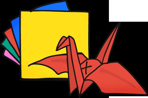 折り紙と折り鶴 手描きフリーイラスト素材集 てがきー